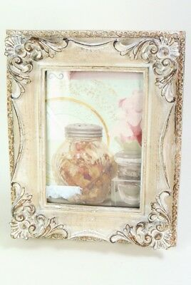 """8 x 10"""" Photo Frame French Vintage Shabby Chic style Antique White with Gold"""