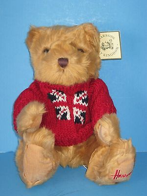 "New-with-Tags Harrods British Red Sweater Light Brown 13"" Plush Bear"