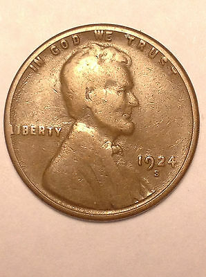 1924-S Lincoln Wheat Penny (Free S/h)