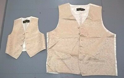 Pair Mens & Child Ivory Pattern Wedding Waistcoat Mens 46 Chest, Only Worn Once.