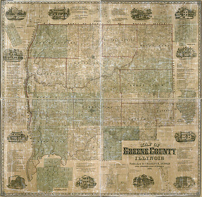 1861 Farm Line Map of Greene County Illinois White Hall LARGE 40 x 40