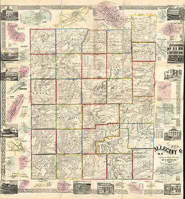 1856 Map of Allegany County NY Belfast Wellsville
