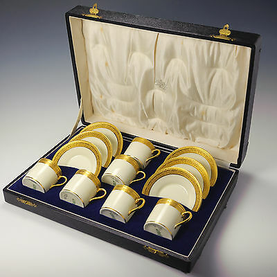 Royal Doulton Gold & Buttermilk Boxed Set Coffee Cups Cans & Saucers c.1923