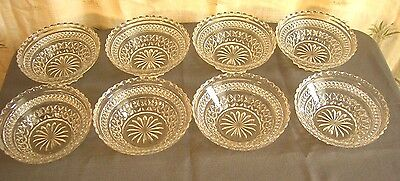 Set of 8 Vintage Anchor Hocking-Wexford 1 Cup Clear-Pressed Glass Bowls