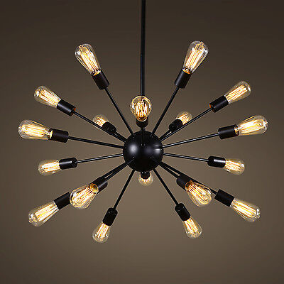 Vintage Metal Large Dimmable Sputnik Chandelier with 18 Lights Painted Finish