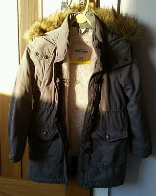 Girls abercrombie and fitch duffel fur lined coat jacket