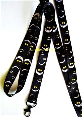 Cheshire Cat Smile Alice Lanyard Neck Strap ID / MP3 / Pin Trading / Whistle