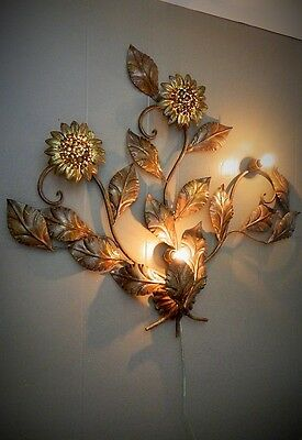 VINTAGE METAL WALL LIGHT SCONCE SUNFLOWER ITALIAN TOLE HOLLYWOOD REGENCY 36x32