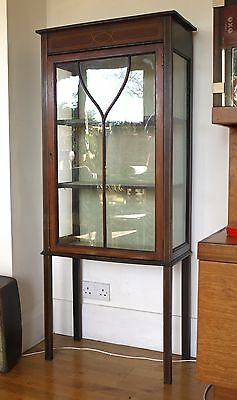 Sheraton Revival late Victorian, Edwardian display case glass cabinet. Mahogany