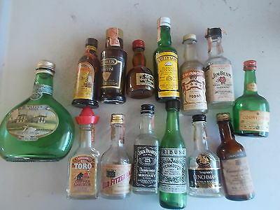 Lot/14 Mini Airplane Liquor Glass Bottles Assorted Brands Empty Nice Collection.