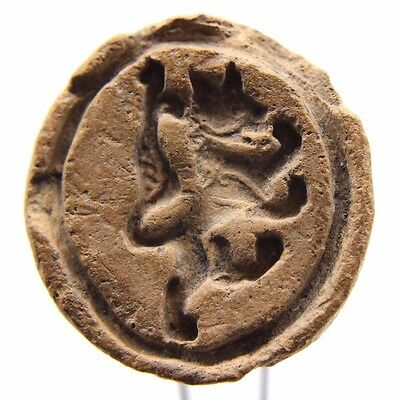 Ancient Achaemenid ceramic stamp seal with a rampant lion 5th-4th Century BCE