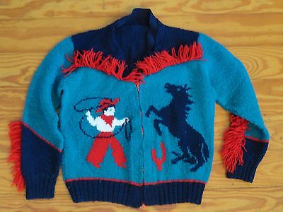 Vintage 50's 60's Child's Sweater Cowboy Horse Western Equestrian