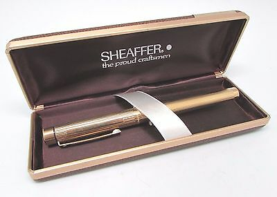 Vintage SHEAFFER 'Targa' Gold Electroplated Piped Case Fountain Pen, BOXED