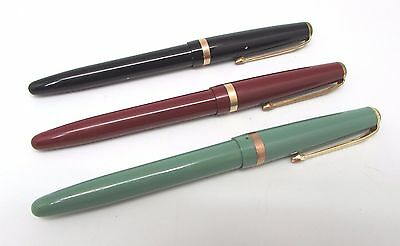 Lot of 3 x Vintage CONWAY STEWART '106' Red, Green & Black Case Fountain Pens