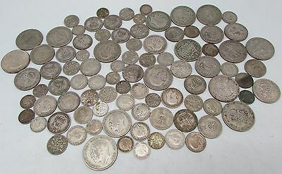 George V & George VI Mixed Denomination Pre 1947 Silver Circulated Coins - 500g