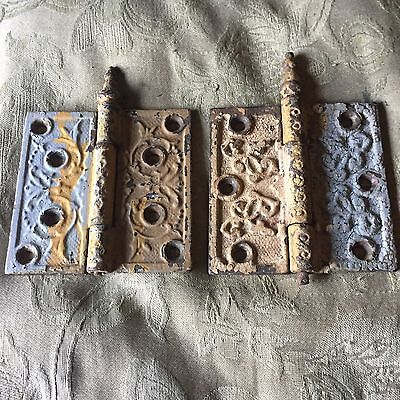 """Antique Pair OfOrnate Cast Iron Door Hinge 4""""  By 4"""" Ball Tipped"""