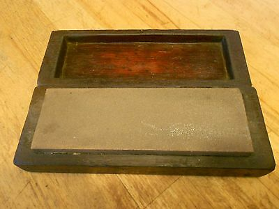 Vintage Sharpening Oil stone in Dark Wood Box..
