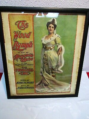 The Wood Nymph Marquerita Sylva opera poster 1901 Antique Vintage Framed Small