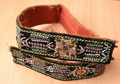 Traditional Collectible Antique Native North American Beaded Handmade Belt #4