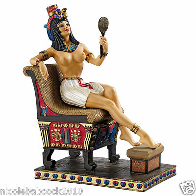 Ancient Egyptian Partial Nude Royal Cleopatra Admiring Her Beauty Statue