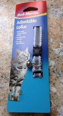 Bob Martin Adjustable Quick Release Reflective Cat Collar & Bell NEW!