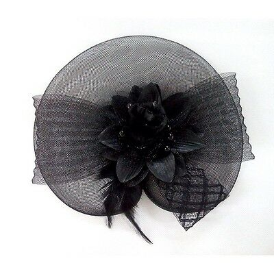 Fascinator Hat Sinamay Black with Flower & Bow Headband Or Clip - Brand New