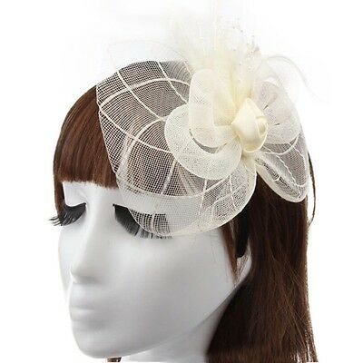 Ladies Fascinator Sinamay Hat Cream Wedding Races Party Occassion - Brand New