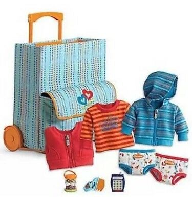 NIB American Girl Bitty Twins Starter Set Suitcase Roller Bag Clothes Toys