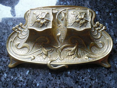ancien support double encriers art deco