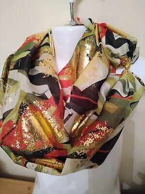 SCARF MAGNETIC with  CLASP/FASTENER[ handmade chiffon ] GLITTER