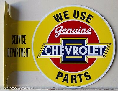 CHEVROLET double sided metal flange sign we use genuine chevy parts service f-2