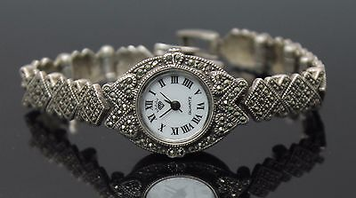 Adorable Vintage Marcasites Accent Sterling Silver Watch Panel Bracelet
