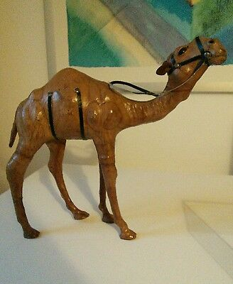 Vintage Large Dromedary Camel Leather Wrapped Sculpture