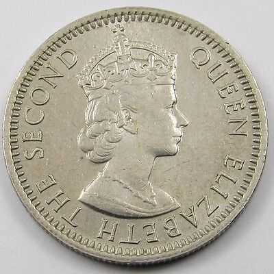 MALAYA AND BRITISH BORNEO - QUEEN ELIZABETH II 10 CENTS COIN dated 1957
