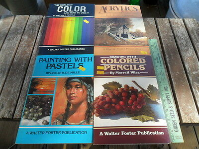 Lot of 4 1984 & 1985 Walter Foster Art Painting Drawing Books Drawing Pastels +