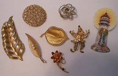 Lot of 8 pins brooches vintage clown flower lighthouse leaf & more