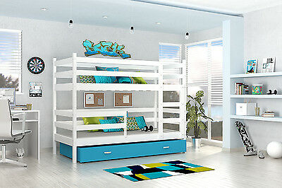 Bunk Bed  Wooden Childrens Solid Pine Frame With Basic Foam Mattresses 2 Drawer