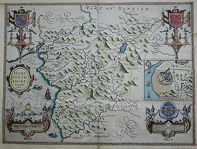 Wales, John Speed map Merionethshire c1623