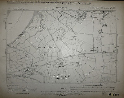 Kent 'Cliffe - Higham' Large scale Ordnance Survey map, Surveyed 1860