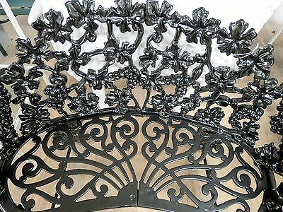 "Antique Cast Iron Garden Furniture Bench Grape Leaves 29"" Tall"
