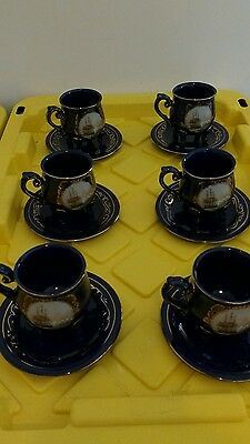 Limoges Reproduction Cobalt Blue Gold Clippership Design Legged 6 Cup 6 Saucers