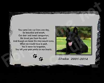 Pet Dog Cat Personalised Photo Memorial Slate Plaque poem Pawprints on my heart