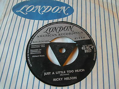 Ricky Nelson - Just A Little Too Much - London Tri Centre 7""