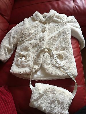 Cream Fake Fur Jacket From George Age 4-5