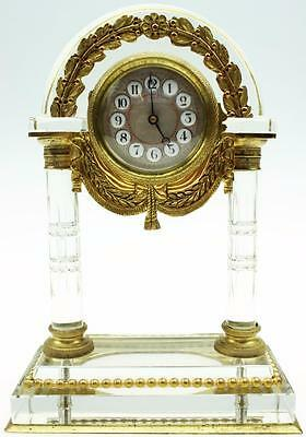 Rare Exceptional Antique 19thc French Baccarat Cut Glass 8 Day Mantel Desk Clock