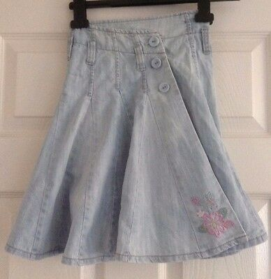 Girls Skirt Denim NEXT Age 7 Adjustable Waist Pink Embroidered Flower Cotton