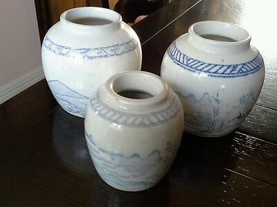 Set Of 3, 19Th Century Chinese Blue And White Ginger Jars, 2 Large 1 Smaller.