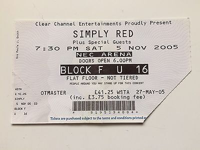 Simply Red Ticket (used) NEC Arena Birmingham, November 2005