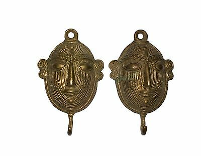 2 fascinating Vintage Brass made Unique A Tribal Woman Face designed COAT HOOKS