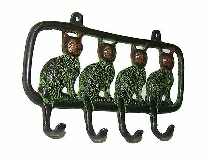 A beautiful attractive four lovely Cats designed coat hook brass made from India